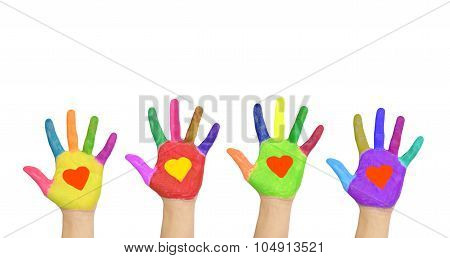 Group Of Helping Hands With Hearts On The Palms.