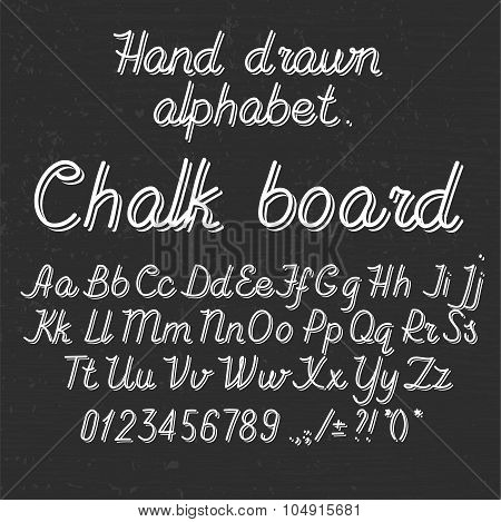 Hand drawin alphabet handwritting abc font on blackboard. Italic light thin line type letters, numbe