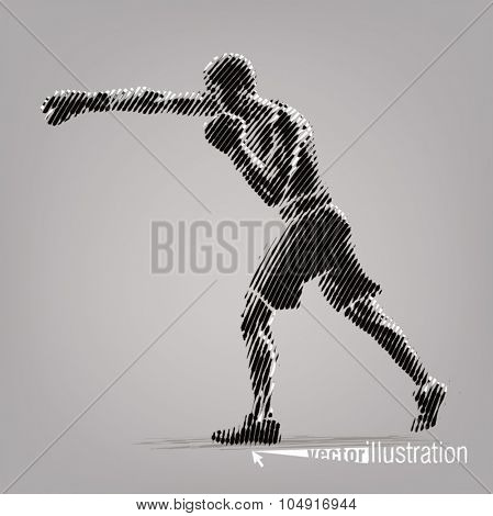 Boxing. Vector artwork in the style of ink drawing