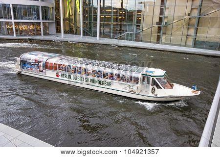 Passenger Sightseeing Ship On Spree River, Berlin