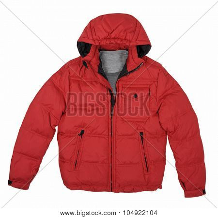 fashion winter red jacket  isolated on white background