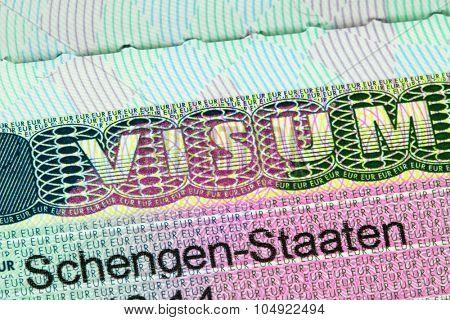 ACHENKIRCH, AUSTRIA : APRIL 2015 : Closeup of the Schengen visa to Europe with shallow DOF, focusing on the word VISUM, in Achenkirch, Austria on April 07, 2015