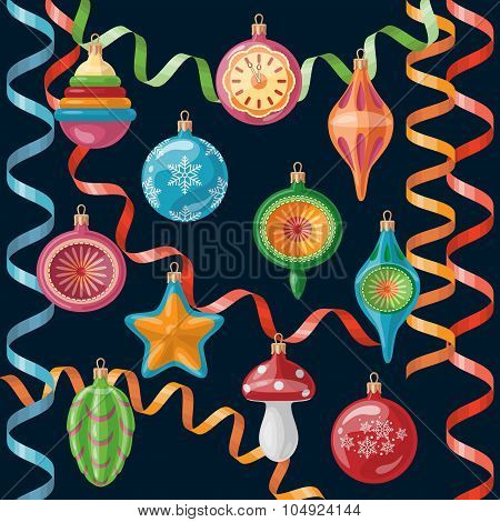 Retro Christmas Decorations Set