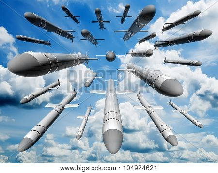 Cruise Missiles Flying Against The Clouds