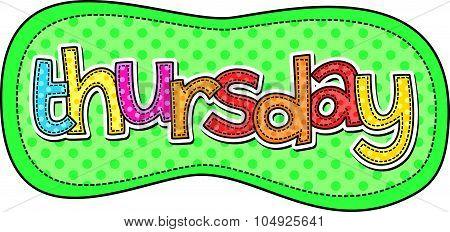 Thursday Stitch Text Label
