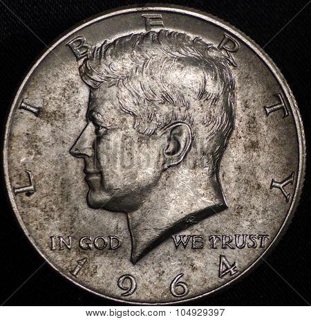 1964 Silver American Half Dollar (obverse)