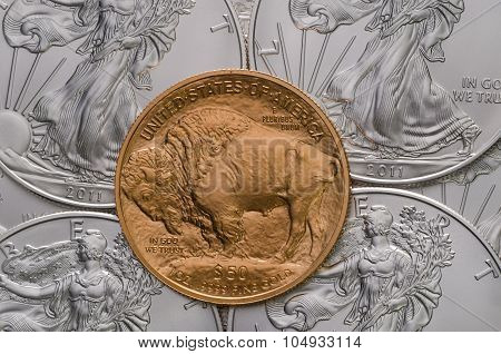 Us Gold Buffalo On Top Of Us Silver Eagles