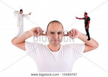 Man Holding Fingers In His Ears, Not Listening, Discussion Between The Devil And Angel, On White