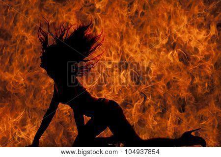 Silhouette Woman In Bikini Hands And Knees Flip Hair Fire