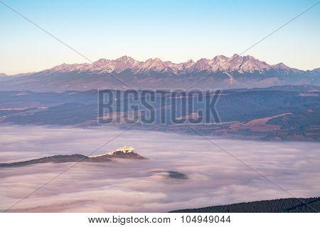 High Tatras Mountain Range And Spis Castle At Sunrise, Slovakia