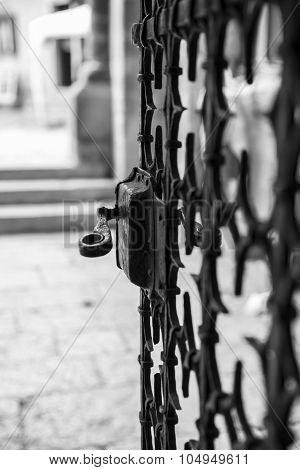 Metal work church/castle iron gate with pattern