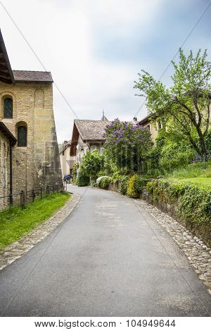 street of mountain village of Romainmôtier-Envy - Switzerland