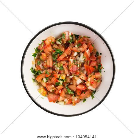 The salsa pico de gallo in a black bowl isolateed on white