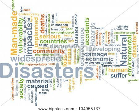 Background concept wordcloud illustration of disasters poster