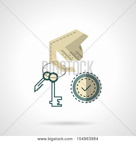 Hand hodls keyring on finger and checked sign. Key duplication service. Flat color style vector icon. Single element of web design for site or mobile app. poster