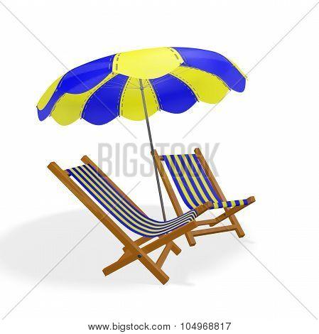 Blue Yellow Beach Chairs Parasol