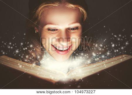 Woman Reading A Magic Book