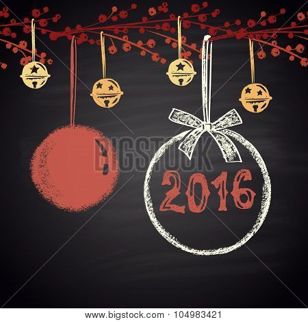 Colored chalk drawn horizontal seamless pattern with Christmas balls and 2016. Happy New 2016 Year.