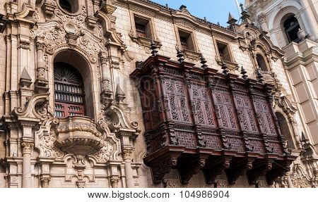 Wood Balcon Of Archiepiscopal Palace In Lima Peru