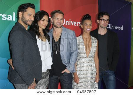 LOS ANGELES - AUG 12: Cas Anwar, Florence Faivre, Wes Chatham, Dominique Tipper, Steven Strait at the NBC 2015 TCA Summer Press Tour at the Beverly Hilton Hotel on August 12, 2015 in Beverly Hills, CA