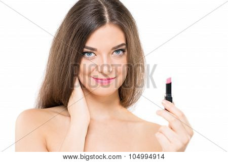 Isolated portrait of a charming woman with a pink lipstick poster