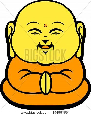 Cartoon Character Happy Buddhist Smile