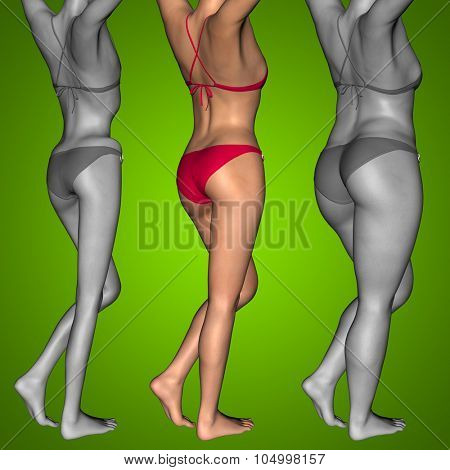 Concept or conceptual 3D woman or girl as fat, overweight vs fit healthy, skinny underweight anorexic female before and after diet poster