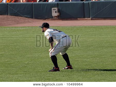 Outfielder Cody Ross Squats Ready For The Play