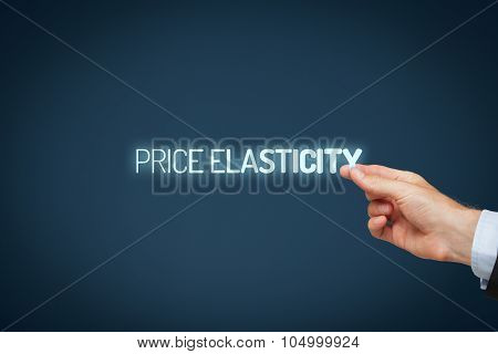Price elasticity concept. Photography illustrating price elasticity - businessman pull text price elasticity. poster