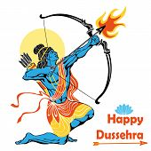 Happy Dussehra card.Lord Rama with bow and arrow killing Ravana .Holyday background.Vector poster