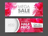 Creative abstract design decorated, Mega Sale website header or banner set with space to add image. poster