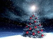 3d render of a decorated xmas tree in a snowing night poster