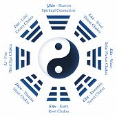Trigrams or Bagua of I Ching with names and meanings - Yin Yang symbol in the middle. Isolated vector illustration on white background. poster