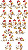 Running chicken sprites. Vector clip art illustration with simple gradients. Each element on a separate layer. poster