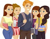 Illustration of a Popular Teenage Guy Surrounded by Girls poster
