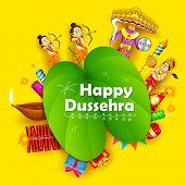 illustration of Lord Rama, Laxmana, Hanuman and Ravana with sona patta in Happy Dussehra background poster
