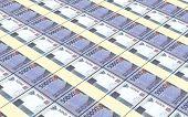 Indonesian rupiah bills stacks background. Computer generated 3D photo rendering. poster