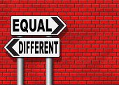 equal or different equality in rights and opportunity for all no discrimination or racism embrace diversity  poster