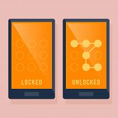 Smart phone locked and unlocked screen using swipe pattern poster