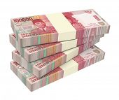 Indonesian rupiah money isolated on white background. Computer generated 3D photo rendering. poster