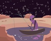cartoon vector illusration reflecting discovery water on Mars surface poster