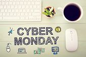 Cyber Monday message with workstation on a light green wooden desk poster