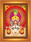 Beautiful shiny floral design decorated frame with illustration of Hindu mythological Goddess Durga for Indian festival, Happy Dussehra celebration. poster