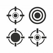 Crosshair icons. Target aim signs symbols. Weapon gun sights for shooting range. Flat icons on white. Vector poster