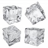 Set of four opaque ice cubes in gray colors poster