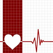 Heart monitor with heart and cardiogram on grid background poster