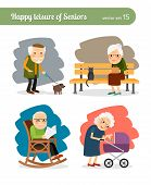 Retirement old people free time. Walking dog and reading newspapers, looking after grandchildren poster