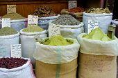 Spices at the spice souk, Khan el-Khalili, Cairo poster