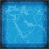 Blueprint map of the Middle East approximate computer rendered poster