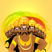 Angry Ravana with ten heads on colourful splash background for Indian Festival, Happy Dussehra celebration. poster